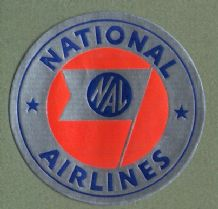 Airline label luggage label U.S.A. National  Airline  #455